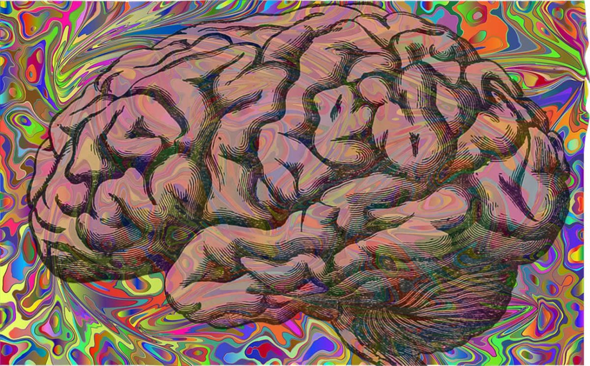This shows a brain against a psychedelic background