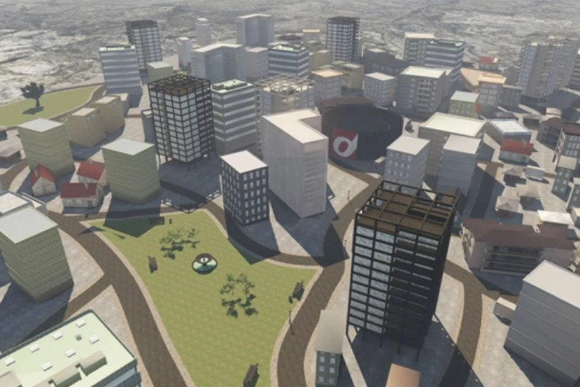 This shows the VR generated city used in the experiement