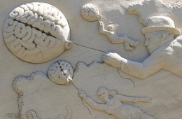 This shows brains built in sand