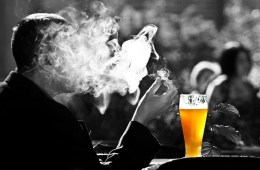 This shows a beer and smoke