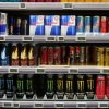 This shows energy drinks on a shop's shelves