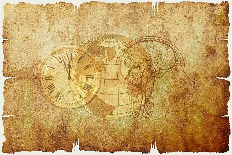This shows a map, brain and clock