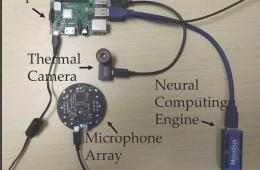 This shows the FluSense device components