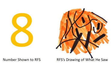This shows the number eight and the man's drawing of what he sees, which looks like a basketball