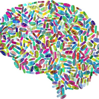 This shows a brain made up of pills