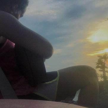 Playing the uke while watching the sunset