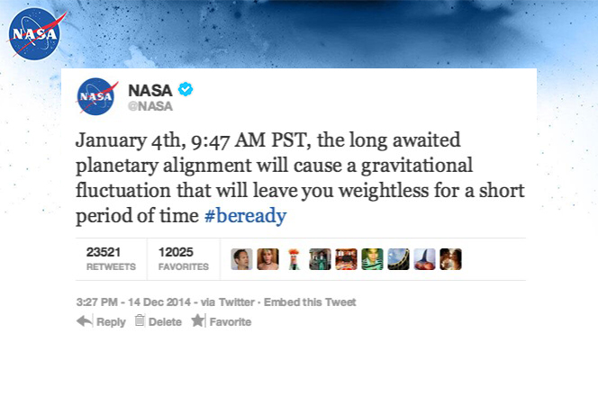 Planetary Alignment On Jan 4, 2015 Will Decrease Gravity For 5 Minutes Causing Partial Weightlessness