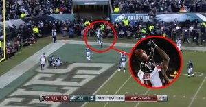 Atlanta Falcons lose to the Philadelphia Eagles on 4th and goal from the 2-yard line in the NFC Playoffs