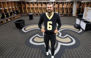 Thomas Morstead in New Orleans Saints locker room