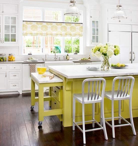 Lime-yellow kitchen island