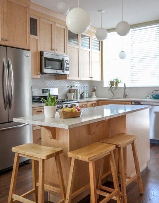 Long narrow freestanding kitchen island
