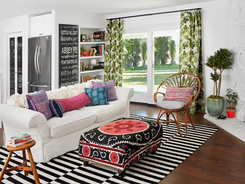 Striped rug in living room