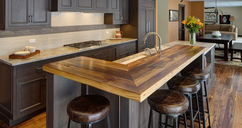 Reclaimed wood kitchen countertop
