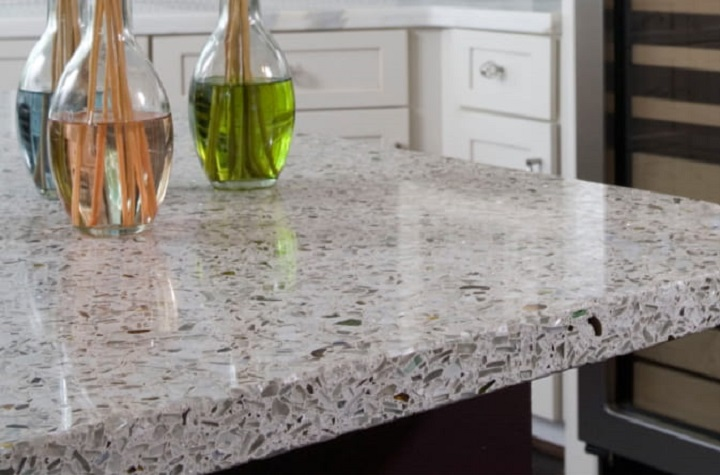 Recycled concrete-glass kitchen countertop