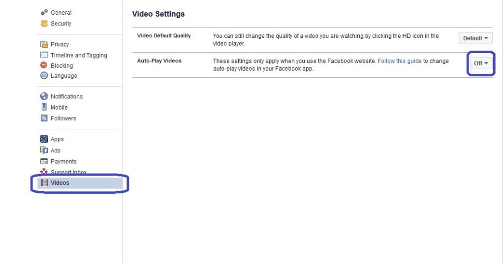 Disable Facebook AutoPlay Video