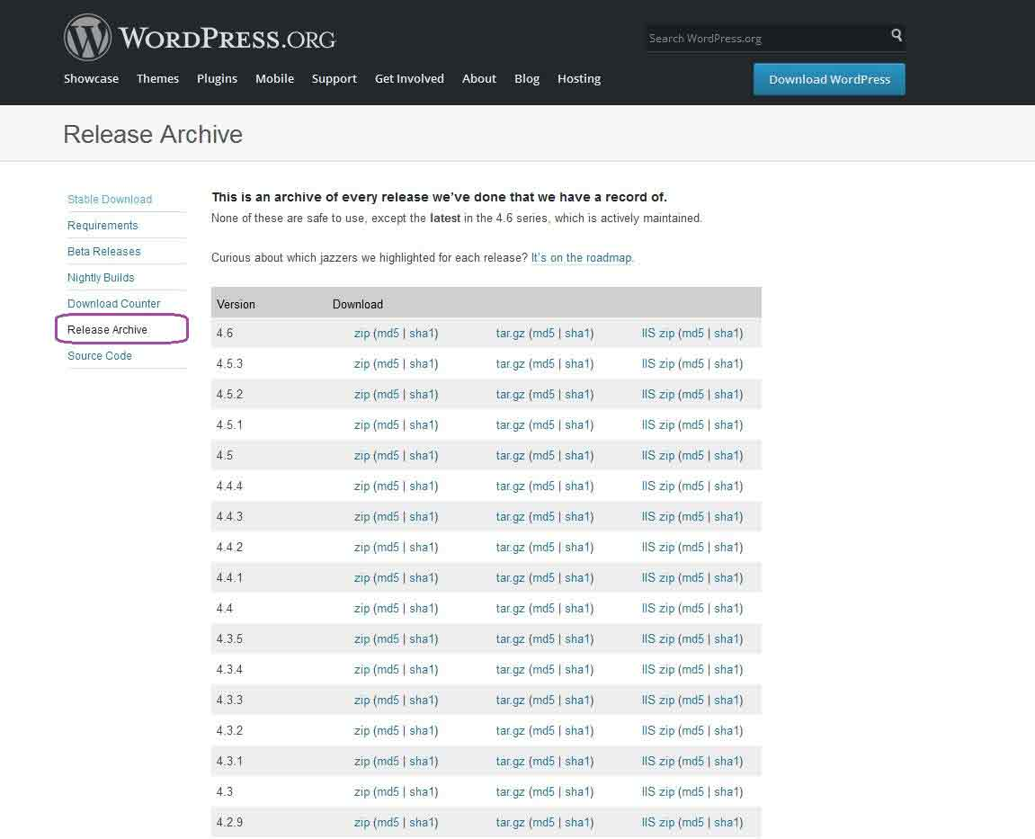wordpress release archive