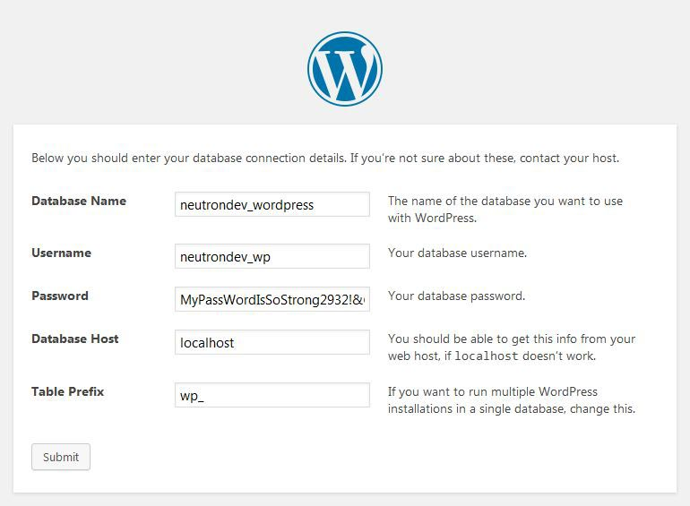 wordpress installation neutron dev