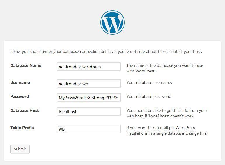 wordpress installation neutron dev