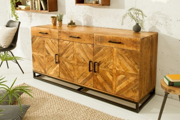 vincente buffet 160cm design industriel en bois de manguier naturel