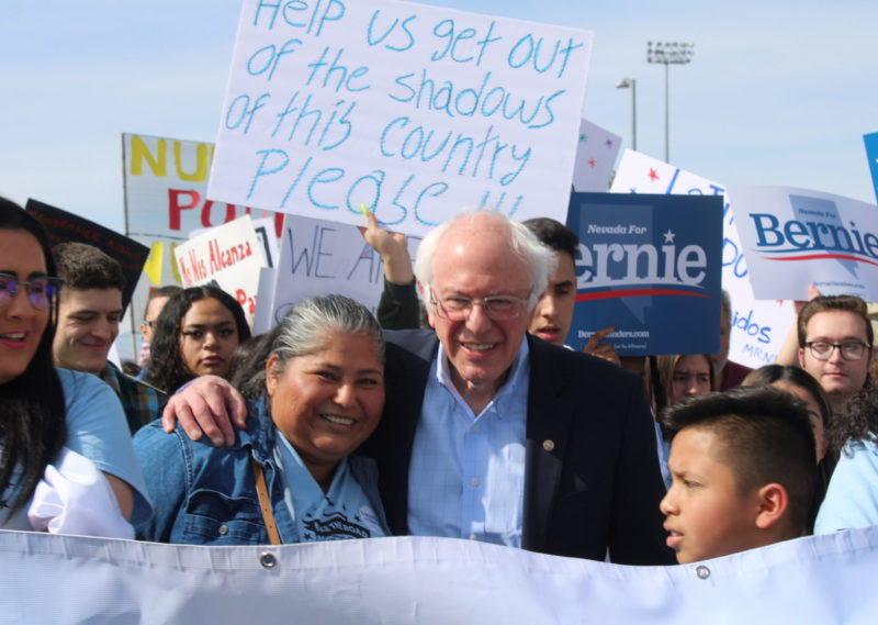 Bernie Sanders and Make the Road Nevada Action March to the Polls on the First Day of Caucus Early Voting