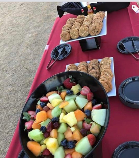 fruit and cookies
