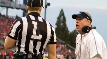 Nathan Brown-Silva/Nevada Sagebrush Former Nevada head coach Brian Polian (right) goes on a verbal tirade against the sideline official (left) during Nevada's game against Arizona at Mackay Stadium last season. Polian and the university mutually agreed to part ways after the Wolf Pack finished the 2016 season with a 5-7 record. Polian was 23-27 in four seasons at Nevada.