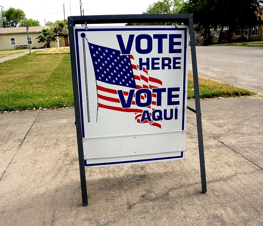 Vote sign for election