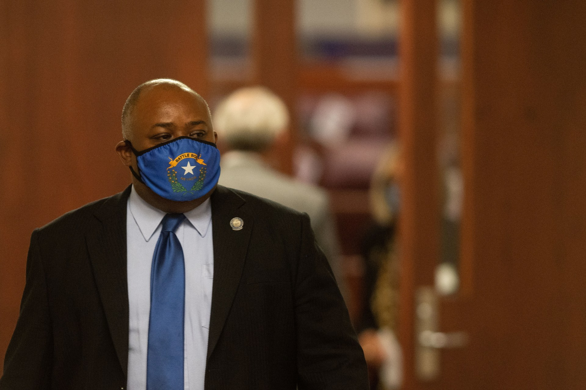 Assembly Speaker Jason Frierson on the eleventh day of the 31st Special Session of the Legislature in Carson City on Saturday, July 18, 2020. (David Calvert/Nevada Independent)