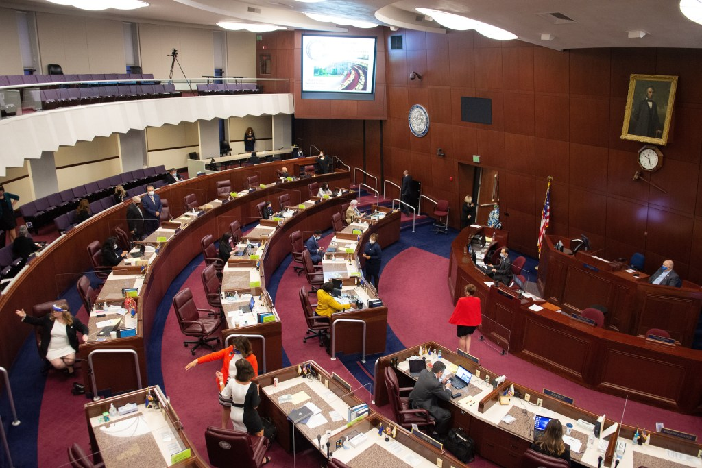 The Nevada Assembly Chambers before the start of the first day of the 31st Special Session of the Nevada Legislature in Carson City, Nev., on Wednesday, July 8, 2020. (David Calvert/The Nevada Independent)