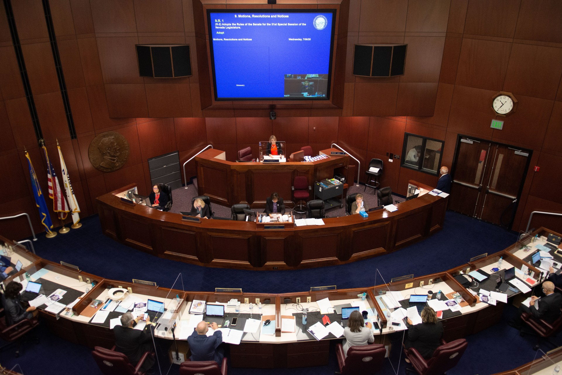 The Nevada State Senate chambers on the first day of the 31st Special Session of the Nevada Legislature in Carson City, Nev., on Wednesday, July 8, 2020. (David Calvert/The Nevada Independent)