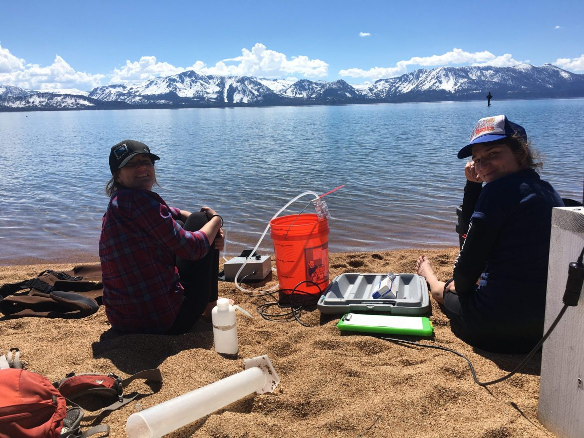 Scientists from DRI collect water samples from Lake Tahoe to test for the presence of microplastics. Image: DRI