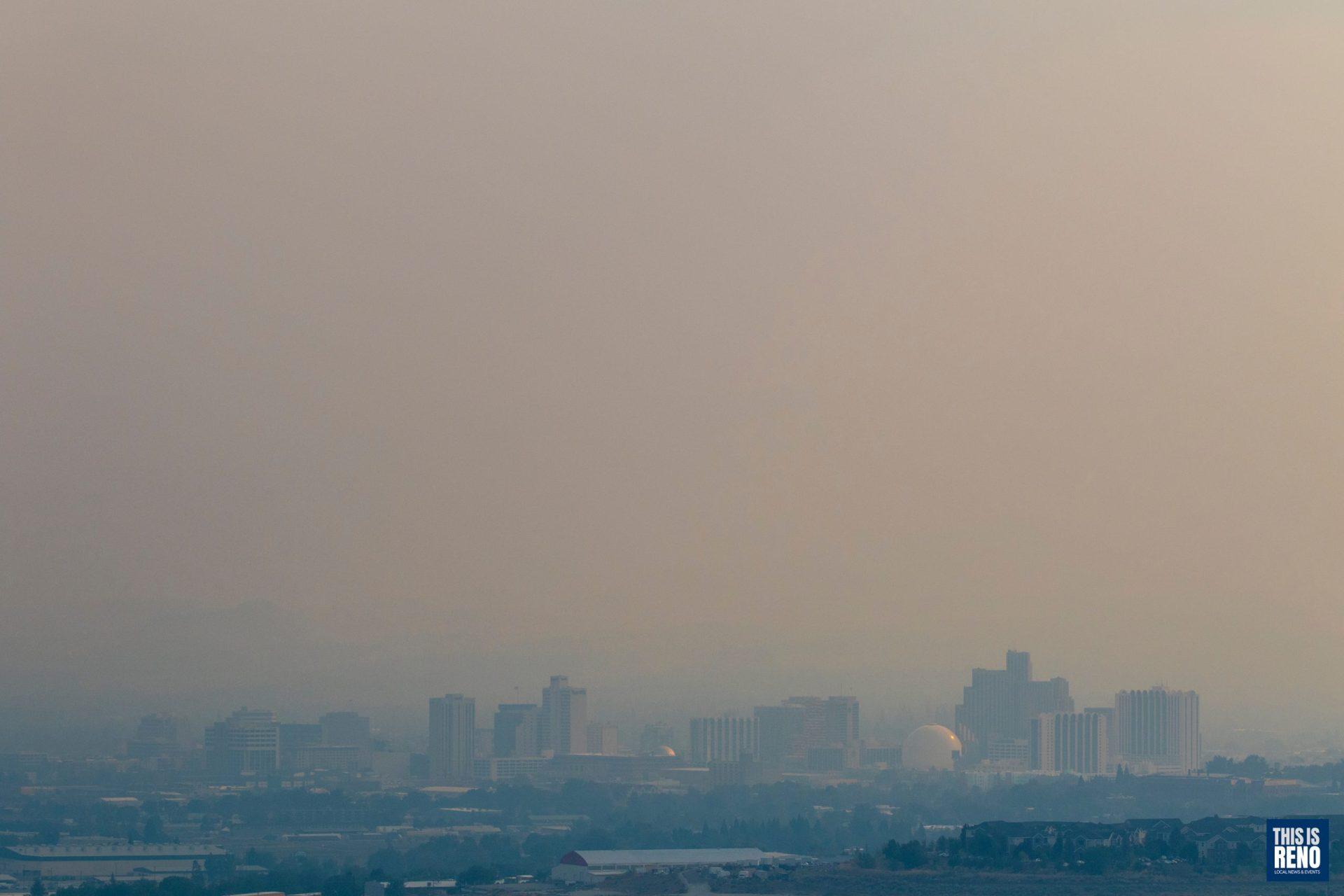 Wildfire smoke fills Reno's skies.