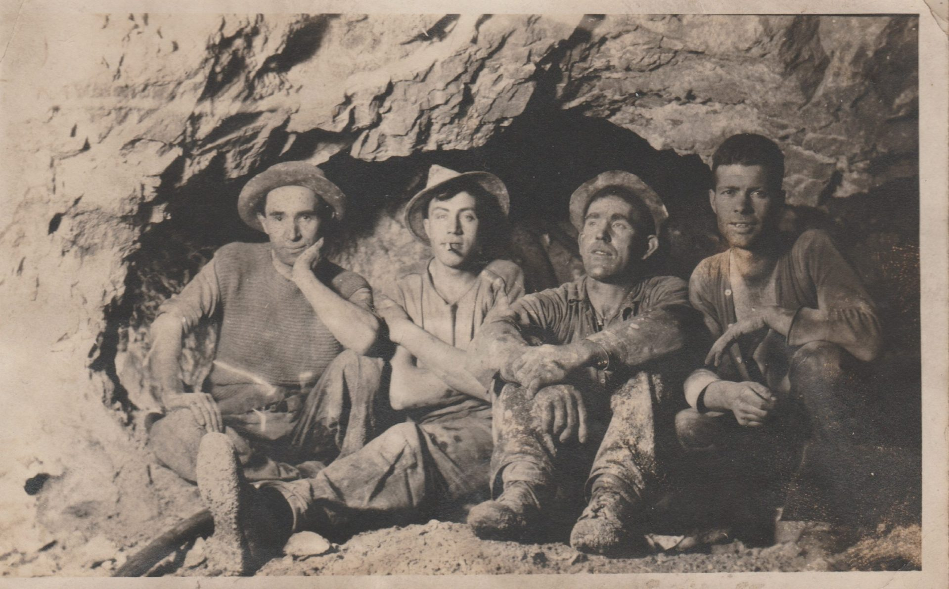Charles Kerckhove, second from left, with other miners working the Mac Namara Mine in Tonopah in 1921.