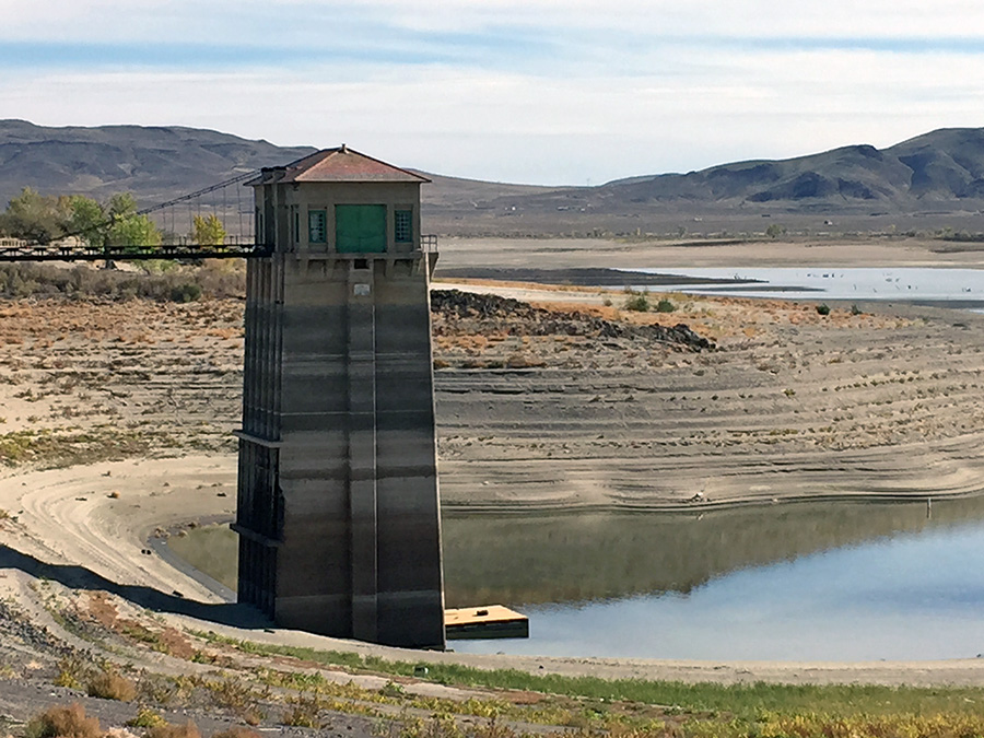 The Lahontan Reservoir is fed by the Carson River and by the Truckee River with water diversions from the Derby Dam, supplying water for irrigation. Pictured here in 2014, in the third year of a four-year drought, much of the lake was completely dry.