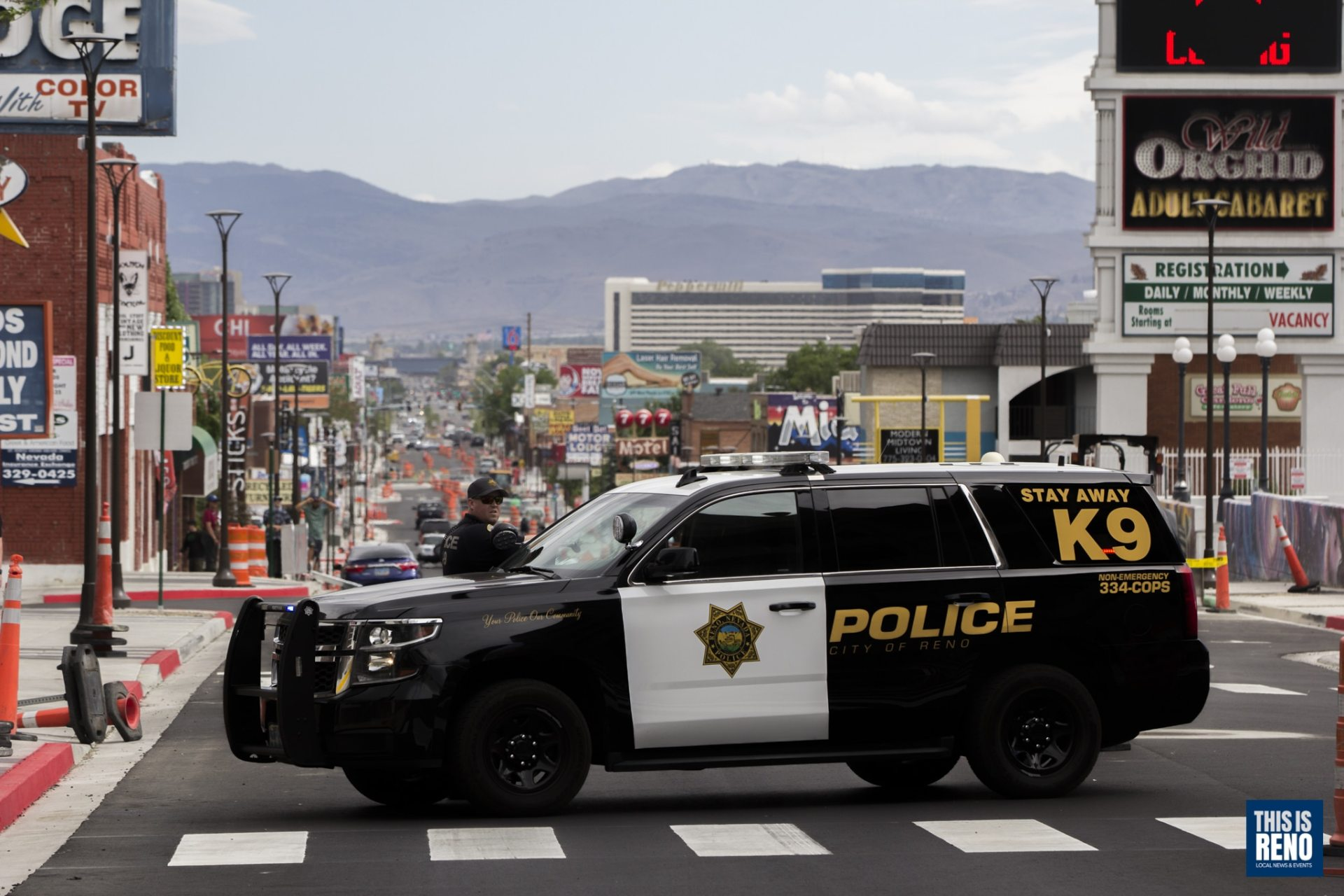 A Reno Police vehicle blocks Virginia Street on May 30, 2020.
