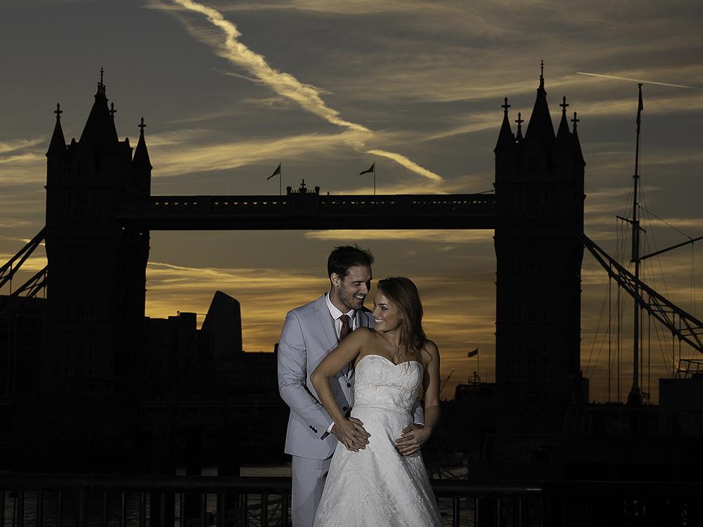 bride groom hug wedding photographer London tower bridge silhouette Yorkshire