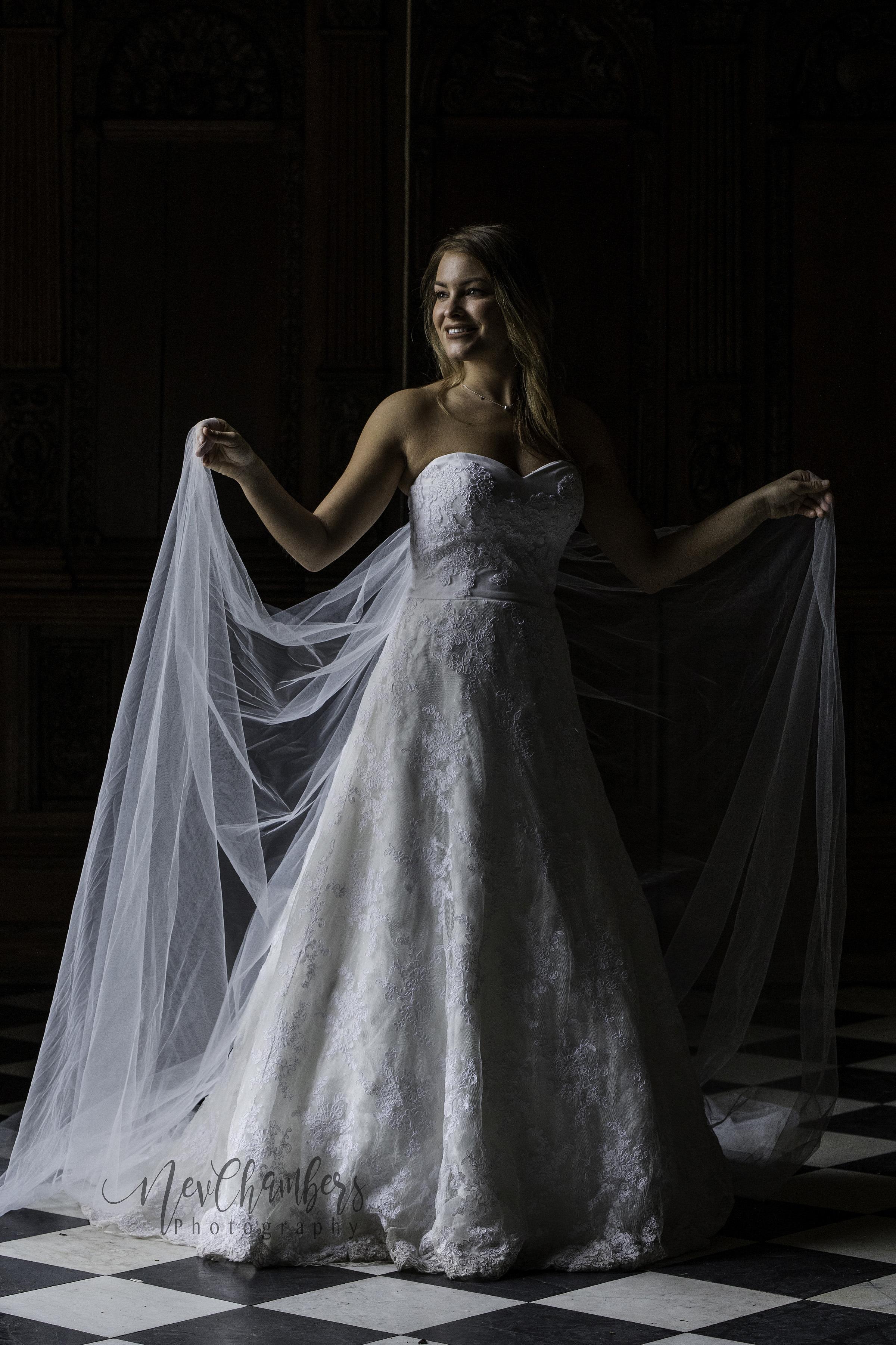 Bride white dress veil natural light lace castle wedding Yorkshire
