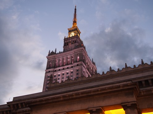 The beautifully lit-up towering Palace of Culture and Science