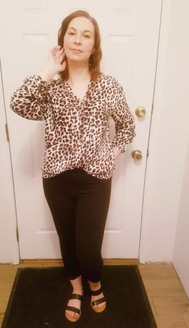leopard print blouse from ThredUP |neveralonemom.com