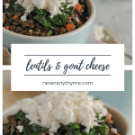 bowl of lentils topped with goat cheese
