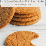 ginger cookies on white background one with a bite taken out with text that says ginger cookies crispy edges & soft in the middle