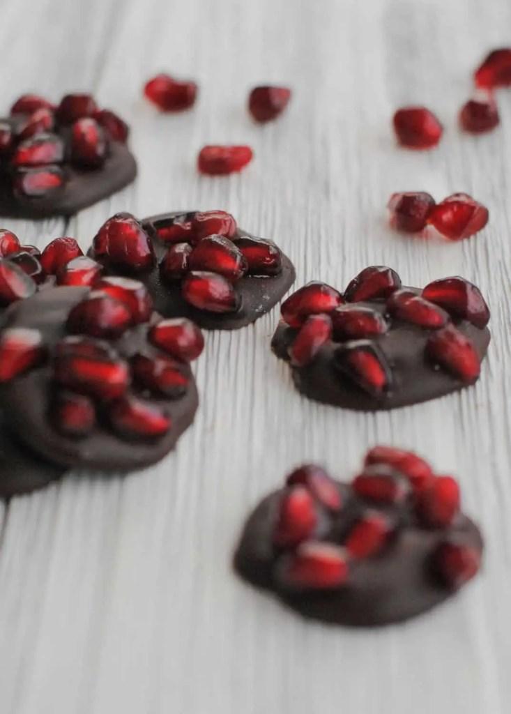 dark chocolate and pomegranate seeds