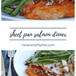 salmon with pecans, green beans, and potatoes