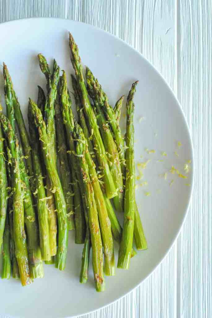 roasted asparagus on white backgrond