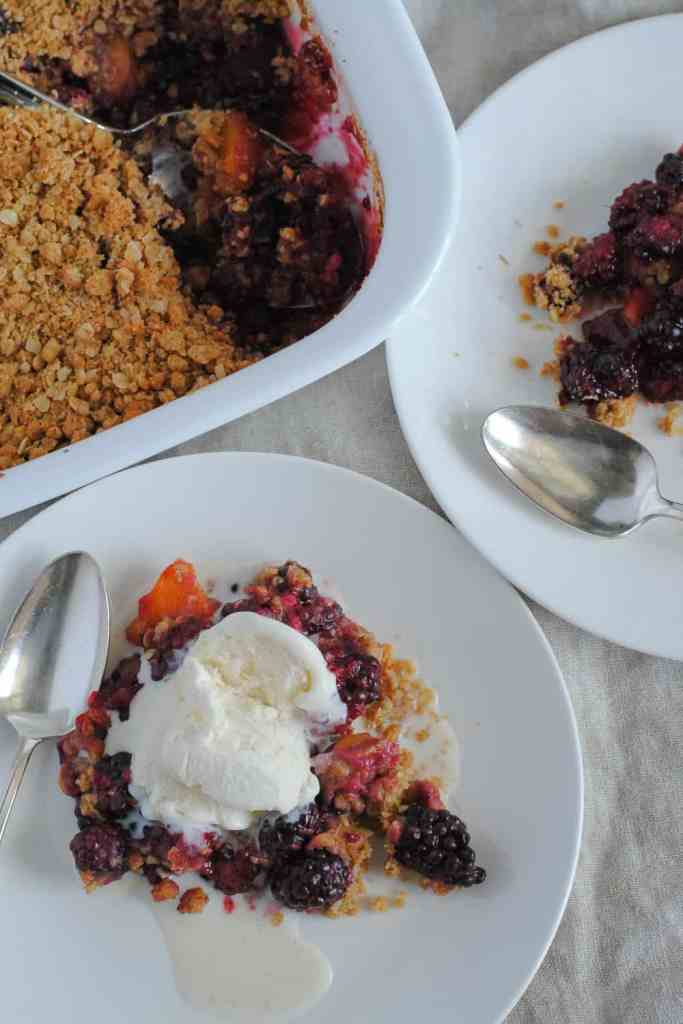 blackberries, peaches and plums baked with an oat crisp topping