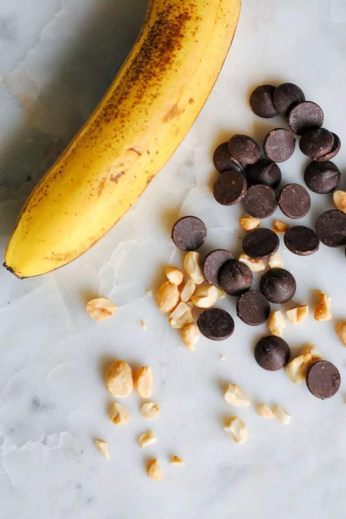 banana, chocolate and peanuts