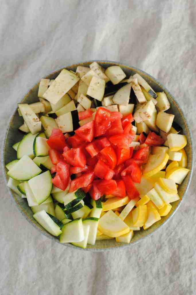 chopped mediterranean veggies
