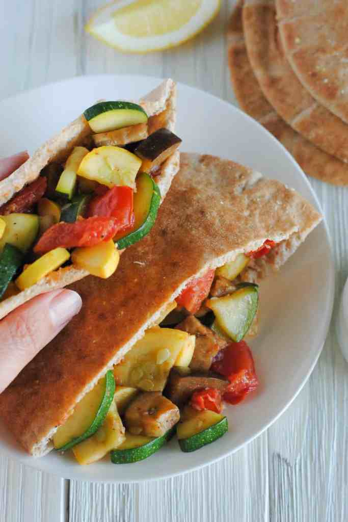 Mediterranean veggie pita sandwiches