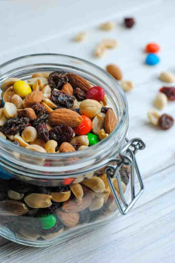 homemade trail mix in jar