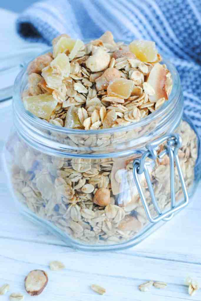 ginger almond cashew granola